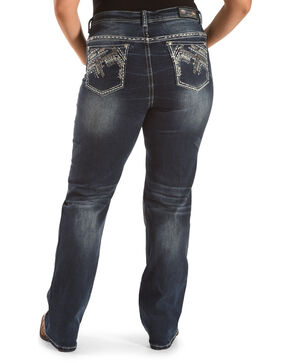 Grace in LA Women's Embellished Pocket Straight Leg Jeans - Plus, Indigo, hi-res