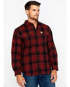 Carhartt Men's Hubbard Long Sleeve Plaid Flannel Work Shirt , Dark Red, hi-res