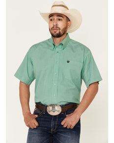 Cinch Men's Green Diamond Geo Print Short Sleeve Western Shirt , Green, hi-res