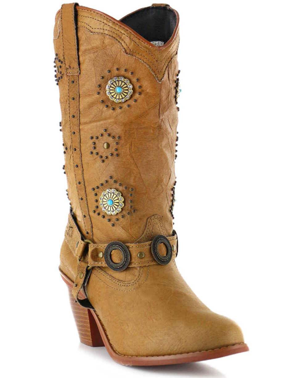 Dingo Women's Addie Concho Harness Boots - Round Toe, Chestnut, hi-res