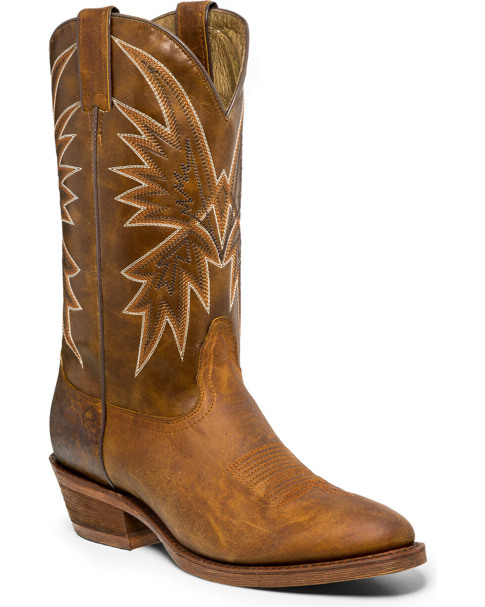"Nocona Men's Vintage 12"" Cowboy Boots - Medium Toe, Tan, hi-res"