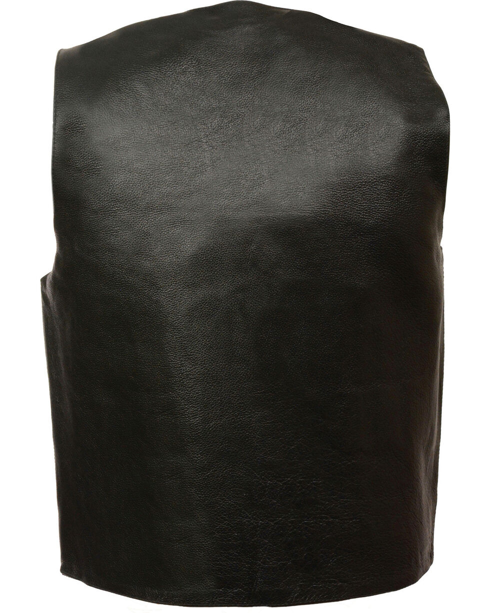 Milwaukee Leather Men's Black Classic Snap Gun Pockets Vest - Big , Black, hi-res