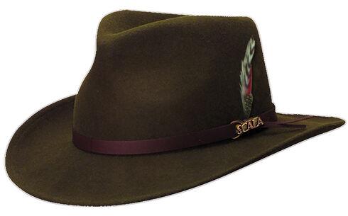 Scala Men's Olive Green Crushable Wool Felt Outback Hat, Olive, hi-res