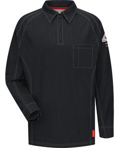 Bulwark Men's Black iQ Series Flame Resistant Long Sleeve Polo, Black, hi-res