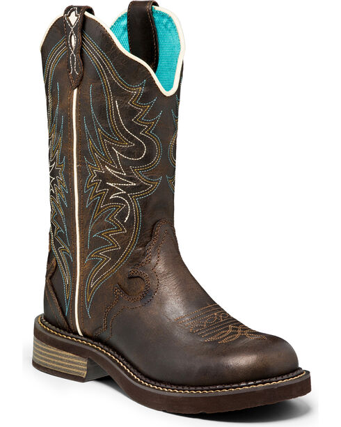 Justin Gypsy Chocolate Crunch Buffalo Cowgirl Boots - Round Toe, Brown, hi-res