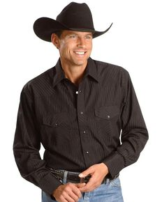 Wrangler Silver Edition Men's Long Sleeve Western Shirt , Black, hi-res