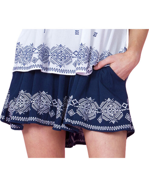 Miss Me Women's Navy Embroidered Shorts , Navy, hi-res