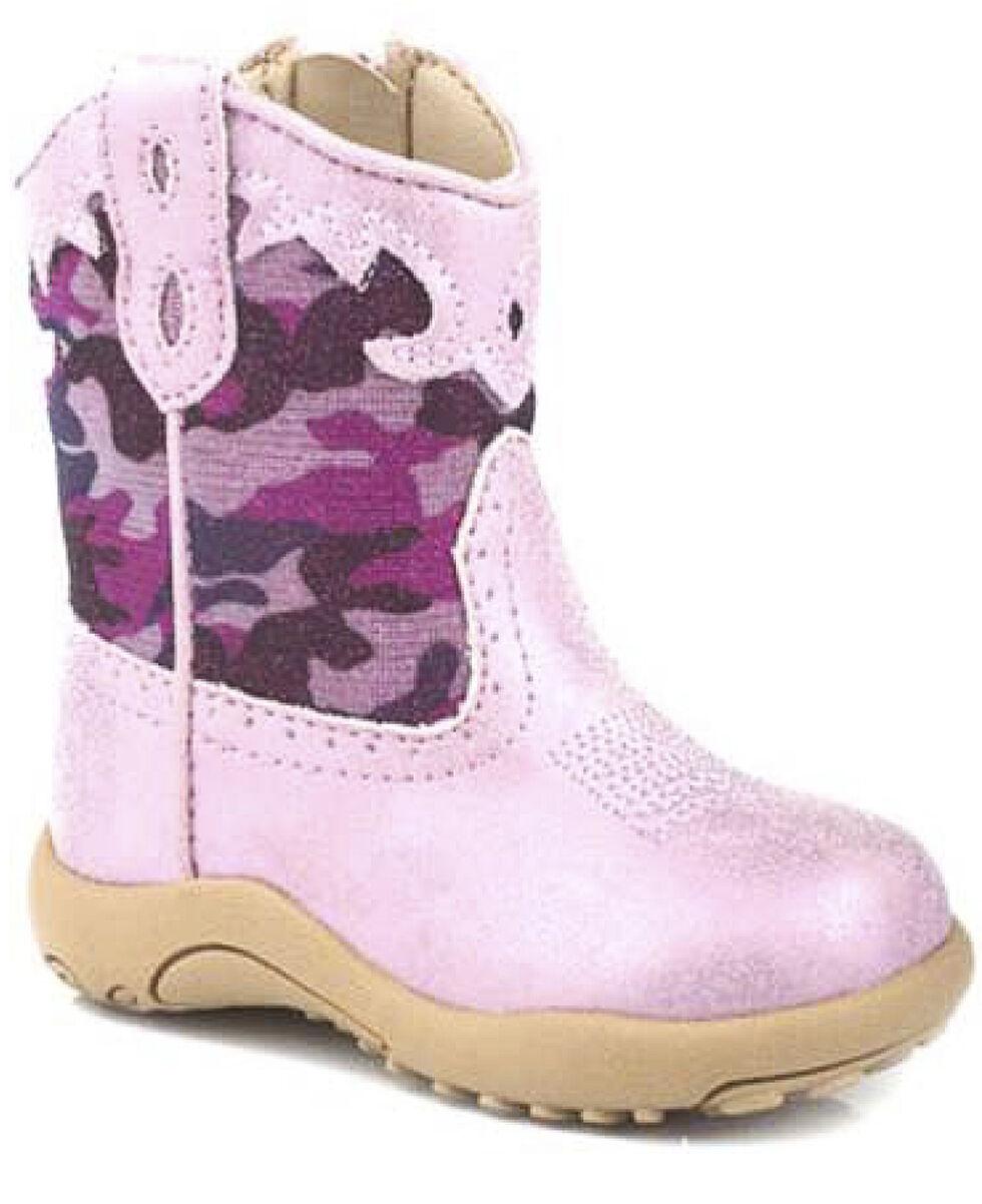 Roper Infant Girls' Pink Glitter Camo Cowbabies Boots, Pink, hi-res