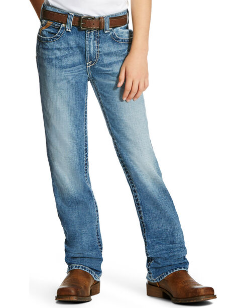 Ariat Boys' B4 Bonner Low Rise Relaxed Fit Jeans - Boot Cut, Indigo, hi-res