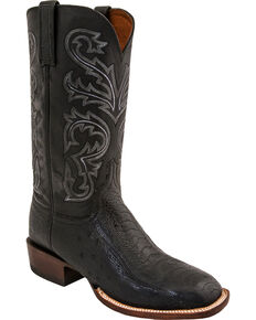 Lucchese Men's Handmade Ostrich Horseman Exotic Boots - Square Toe, Black, hi-res