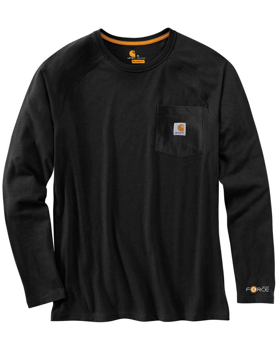 Carhartt Force Long Sleeve Work Shirt - Big & Tall, Black, hi-res
