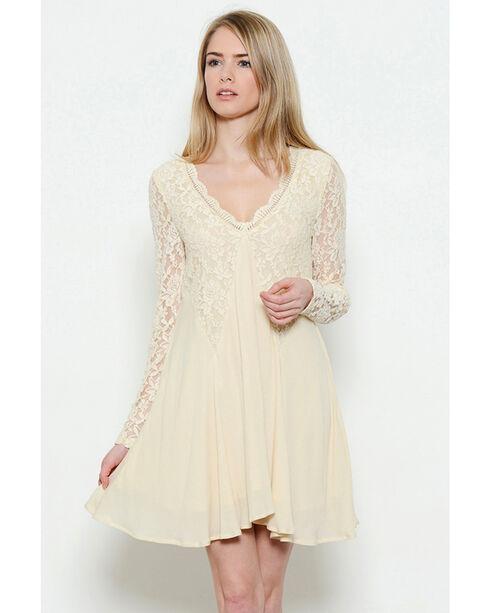 Illa Illa Women's Long Sleeve Lace Dress, Beige/khaki, hi-res