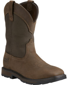 Ariat Groundbreaker Waterproof Western Work Boots - Steel Toe, Brn Bomber, hi-res