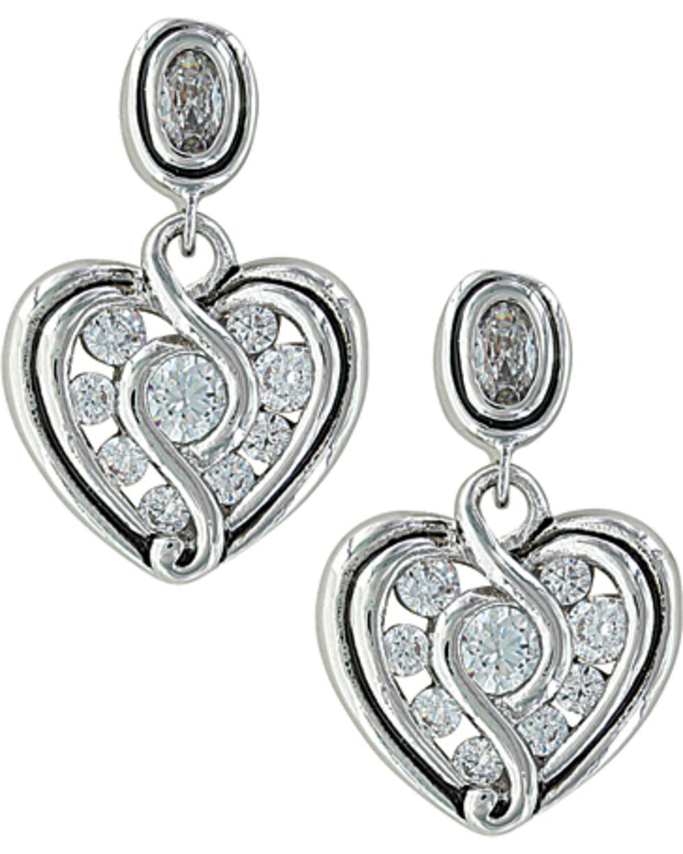 Montana Silversmiths Women's Twisted Up In Love Heart Earrings , Silver, hi-res