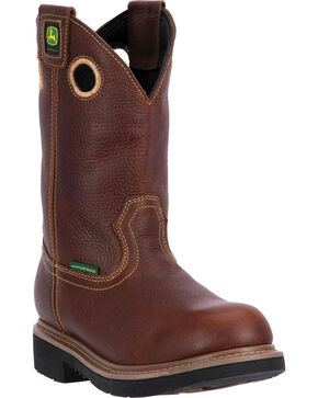 John Deere Men's Waterproof Pull On Work Boots - Round Toe , Brown, hi-res