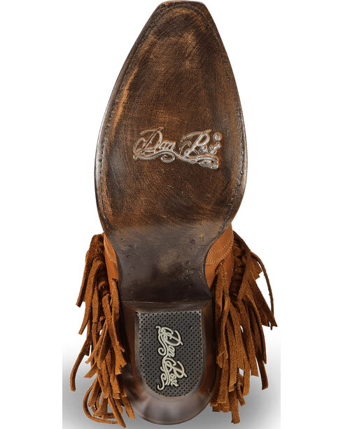 """Dan Post Women's 6"""" Caged Fringe Western Boots - Round Toe, Brown, hi-res"""