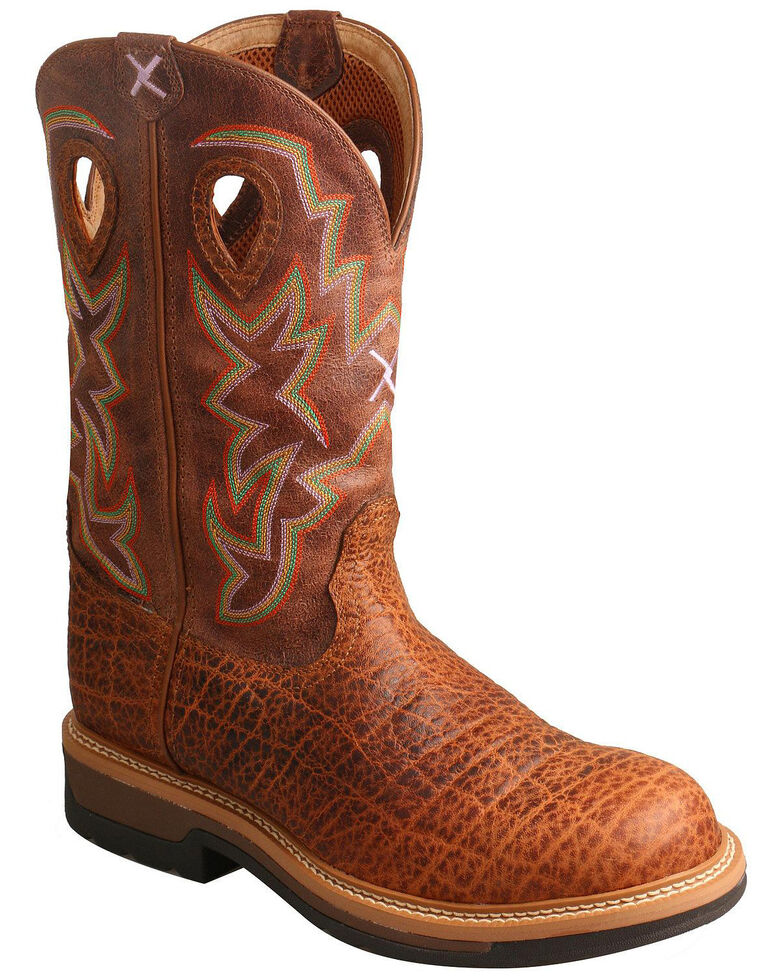 Twisted X Men's Lite Cowboy Elephant Print Western Work Boots - Round Toe, Tan, hi-res