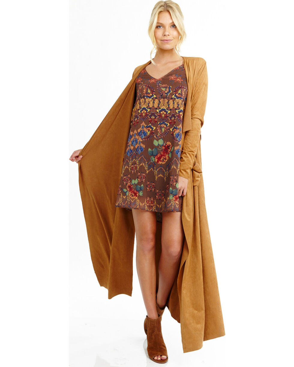 Mary & Mabel Women's Long Sleeve Suede Duster, Camel, hi-res