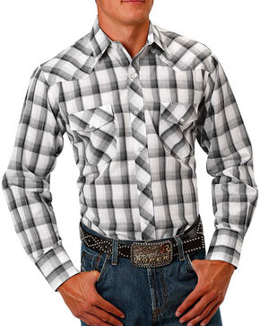 Roper Men's Ombre Plaid Long Sleeve Western Shirt, White, hi-res