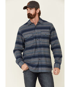 North River Men's Dark Blue Lake Striped Long Sleeve Western Flannel Shirt , Blue, hi-res