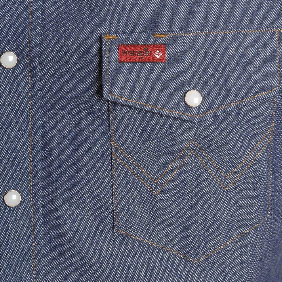 Wrangler Flame Resistant Work Western Shirt, Denim, hi-res