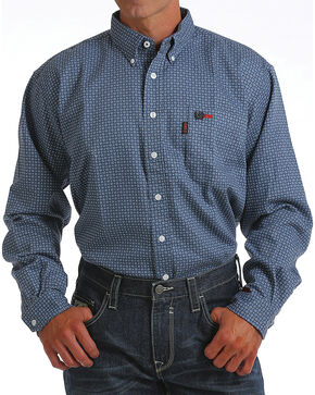 Cinch Men's Blue Geometric Print FR Shirt , Blue, hi-res
