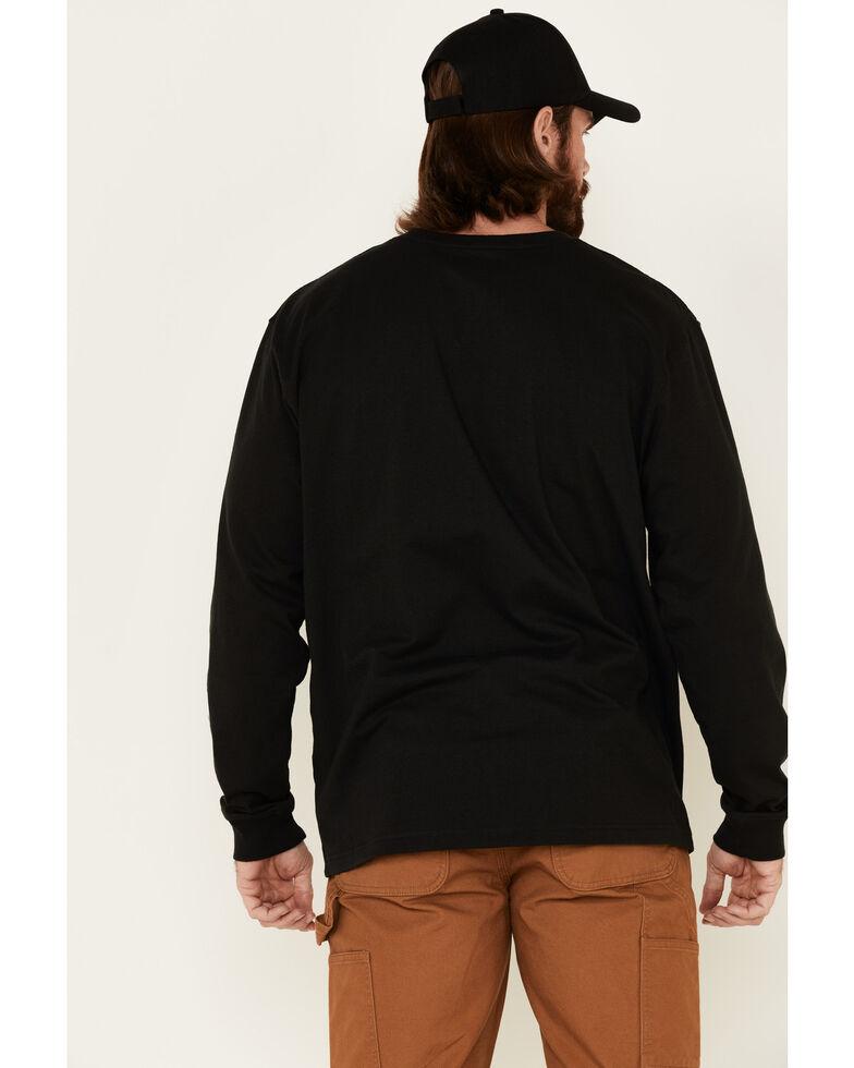 Carhartt Men's Signature Logo Long Sleeve Knit Work T-Shirt , Black, hi-res