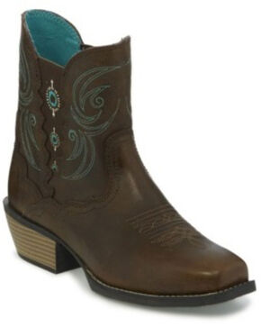 Justin Women's Chellie Puma Western Booties - Narrow Square Toe, Chocolate, hi-res