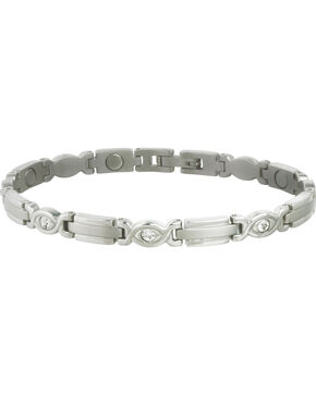 Sabona Women's Executive Silver Gem Magnetic Bracelet, Steel, hi-res