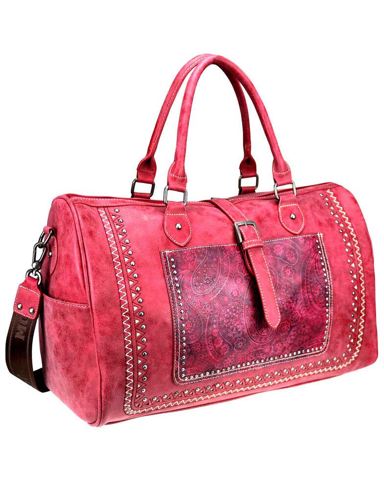 Montana West Women's Bella Buckle Duffle Bag, Red, hi-res