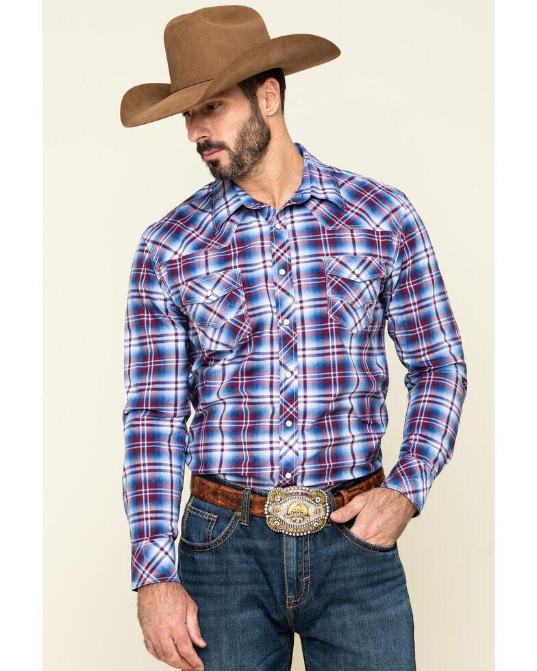 Rock & Roll Denim Men's Ombre Crinkle Plaid Long Sleeve Western Shirt , Blue, hi-res