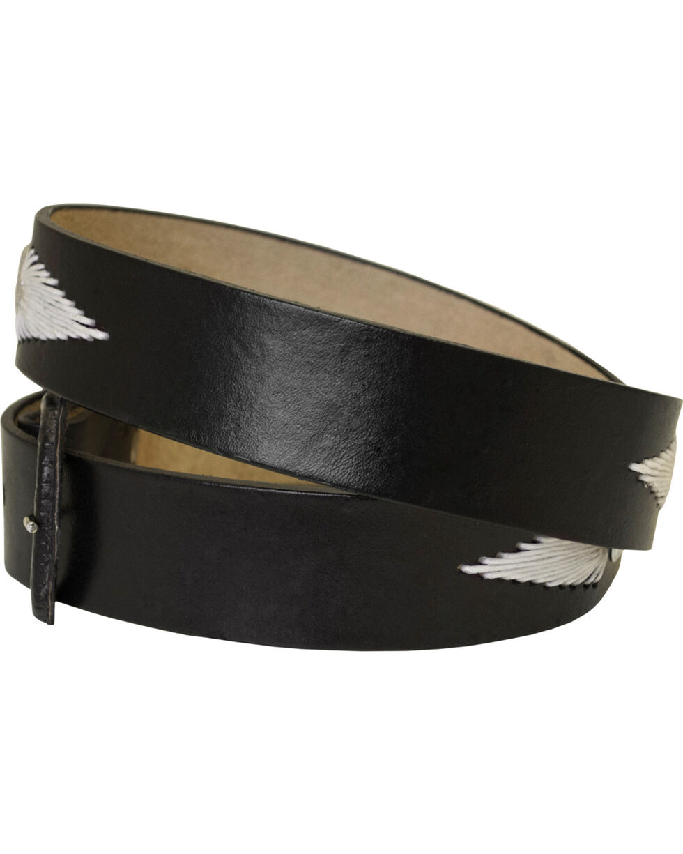 Western Express Men's Black White Lacing Leather Belt , Black, hi-res
