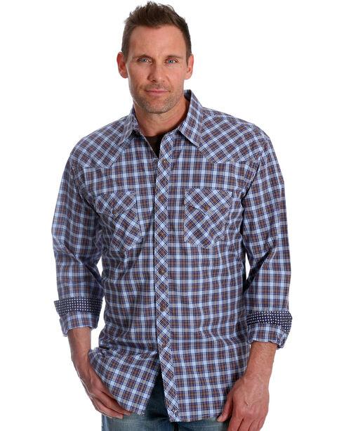 Wrangler Men's Blue Plaid 20X Advanced Comfort Competition Shirt - Tall, Blue, hi-res