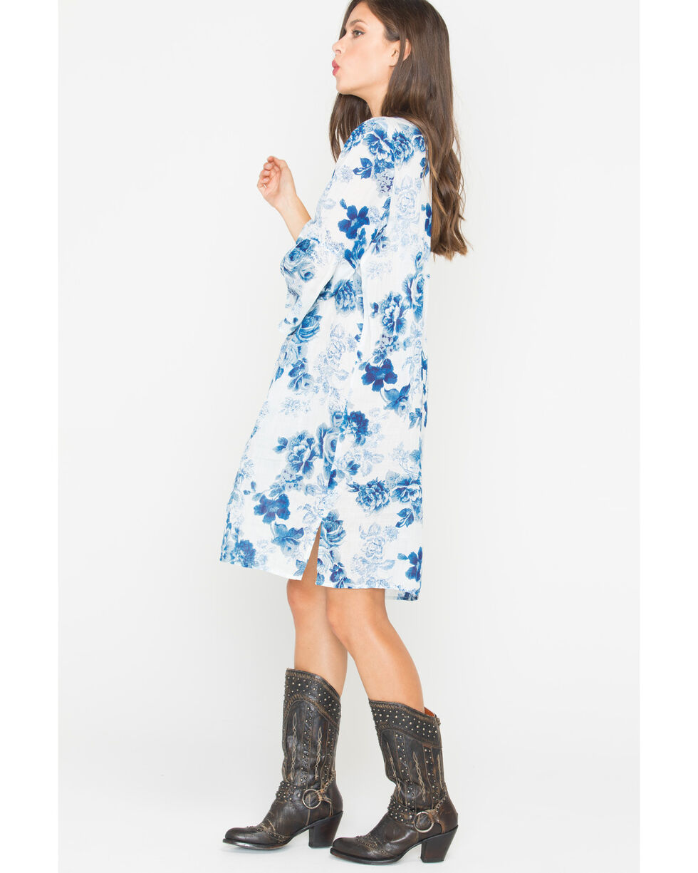 Johnny Was Women's Blue Flare Sleeve Tunic Dress , Blue, hi-res