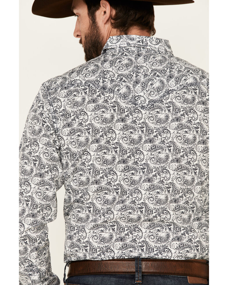 Moonshine Spirit Men's Ricochet Paisley Print Long Sleeve Snap Western Shirt  , White, hi-res