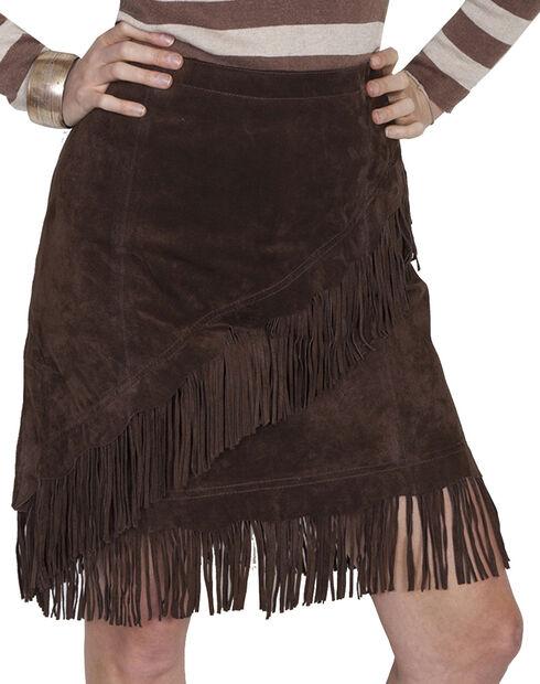 Scully Short Fringe Boar Suede Skirt, Chocolate, hi-res