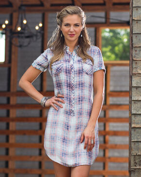 Ryan Michael Women's Cloud Plaid Dress, Indigo, hi-res