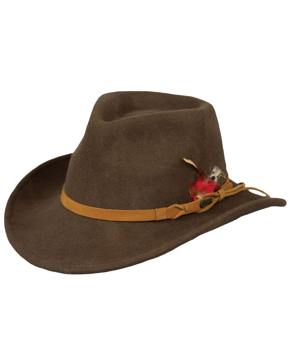 Outback Trading Co. Randwick UPF50 Sun Protection Crushable Wool Hat, Brown, hi-res