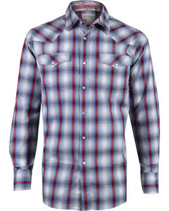 Roper Men's Plaid Long Sleeve Western Snap Shirt, Blue, hi-res