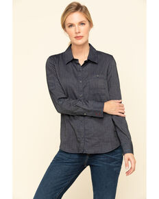 Dovetail Workwear Women's Indigo Herringbone Givens Work Shirt, Indigo, hi-res