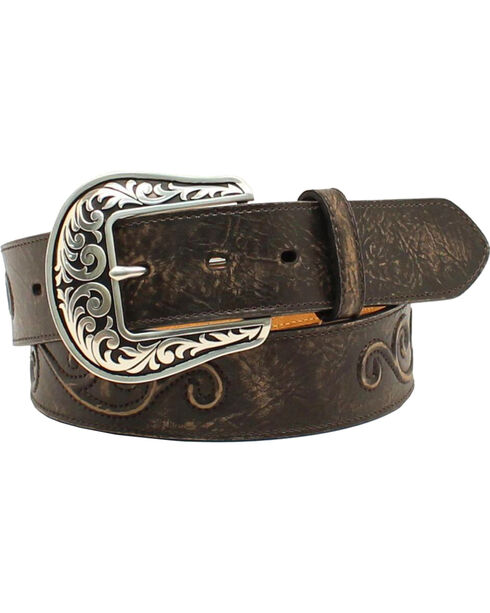 Nocona Women's Scroll Large Round Concho Belt, Black, hi-res