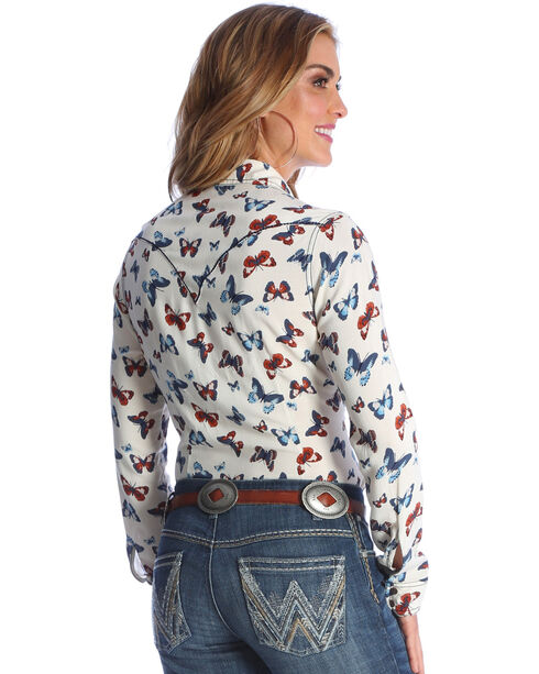 Wrangler Women's Ivory Butterfly Print Western Shirt , Ivory, hi-res