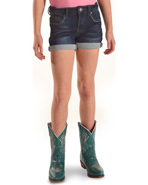 Silver Girls' Lacy Cuffed Hem Denim Shorts, Indigo, hi-res