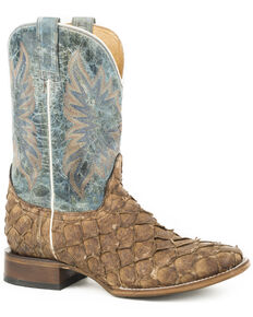 Stetson Men's Light Brown Predator Pirarucu Fish Boots - Square Toe , Brown, hi-res