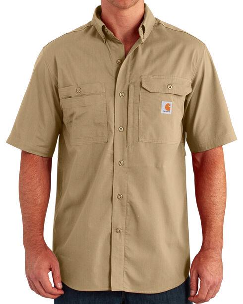 Carhartt Men's Khaki Force Ridgefield Short Sleeve Solid Shirt - Big and Tall, Khaki, hi-res
