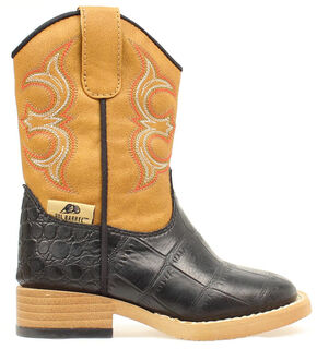 Double Barrel Toddler Boys' Bronc Gator Cowboy Boots - Square Toe, Black, hi-res