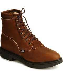 "Justin Original 6"" Lace-Up Work Boots, Brown, hi-res"