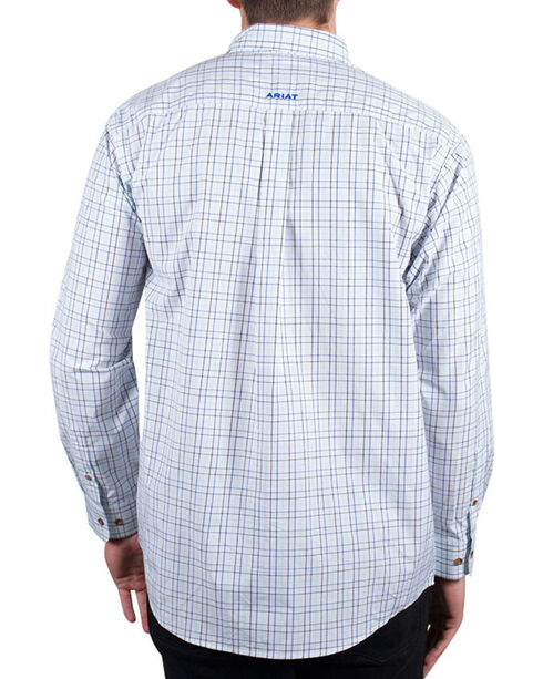 Ariat Men's White Check Patterned Irby Long Sleeve Shirt , White, hi-res