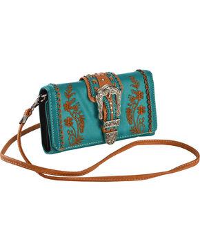Wear N.E. Wear Women's Turquoise Buckle Organizer Wallet Crossbody Bag, Turquoise, hi-res