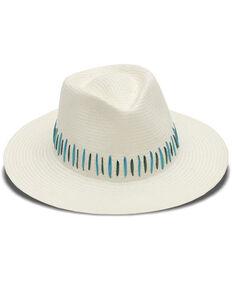 Nikki Beach Women's Ivory Raine Panama Fedora Straw Hat , Ivory, hi-res